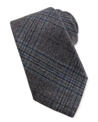Gucci Woven Wool Plaid Tie, Black
