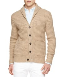 Burberry Brit Shawl Collar Chunky-Knit Cardigan