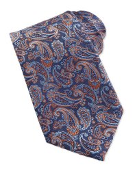 Ike Behar Paisley Pattern Woven Tie, Orange