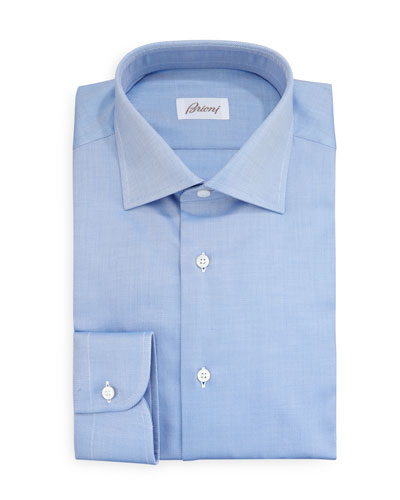 Brioni Diagonal Twill Dress Shirt, Blue