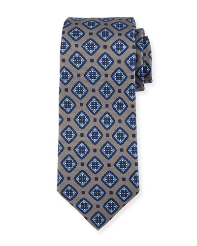 Kiton Diamond Medallion Silk Tie, Gray