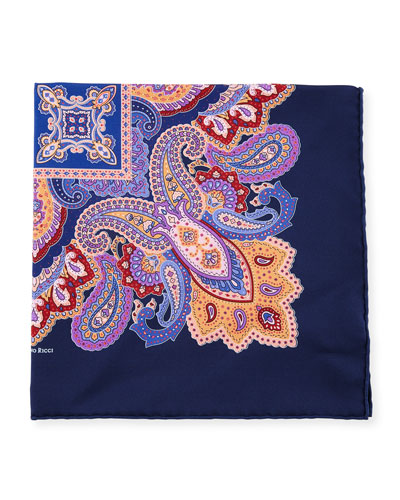 Stefano Ricci Paisley-Print Silk Pocket Square
