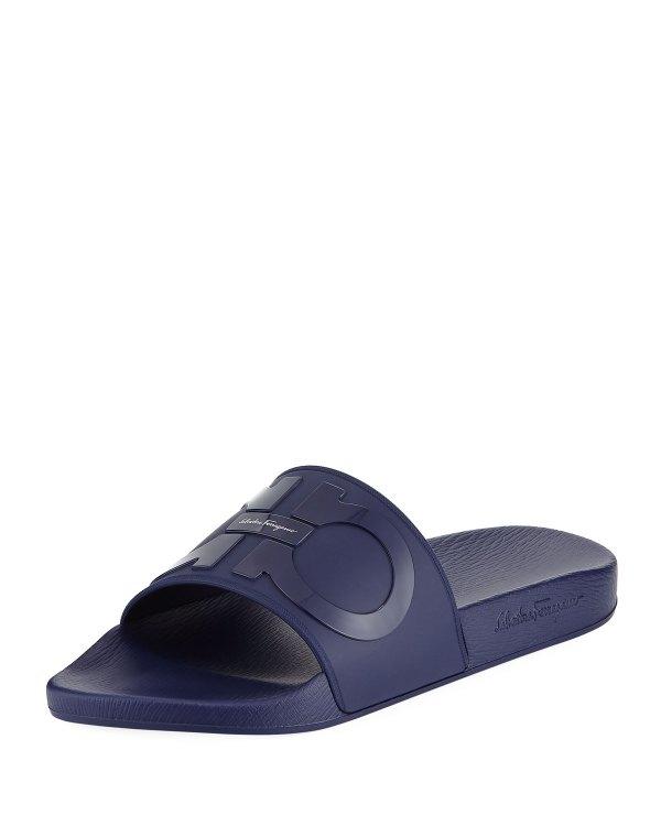 Salvatore Ferragamo Men' Gancini Pool Slide Sandals Blue