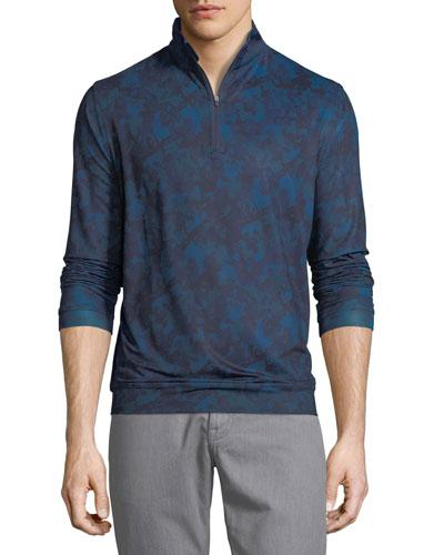 Peter Millar Perth Stretch Camouflage Quarter-Zip Sweatshirt, Slate