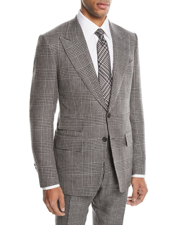 Tom Ford Shelton Large-plaid Wool-blend Two-piece Suit