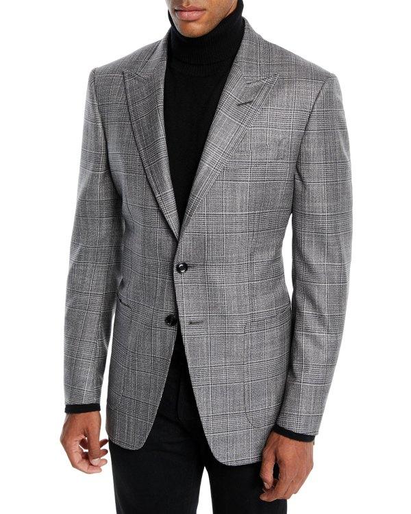Tom Ford Men' 'connor Wool-silk Prince Of Wales Plaid Blazer Jacket Neiman Marcus