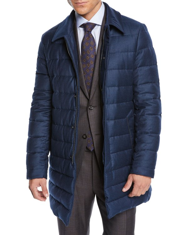 Canali Men' Long Quilted Coat Neiman Marcus