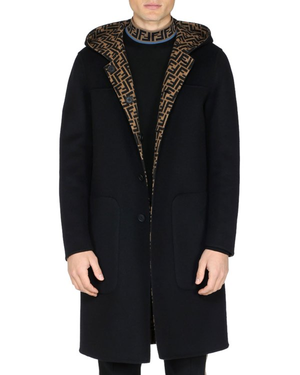 Fendi Men' Reversible Hooded Coat Neiman Marcus