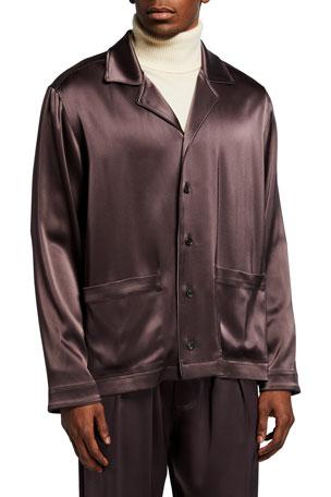 Nanushka Men's Slip Satin Pajama Shirt