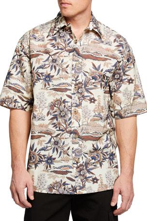 Nanushka Men's Alain Printed Sport Shirt