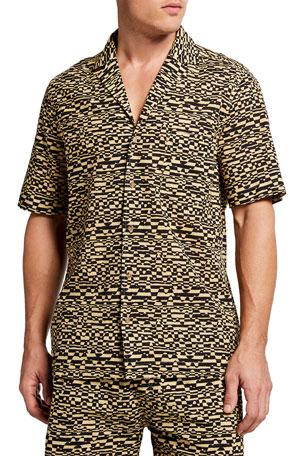Nanushka Men's Leopard-Print Camp Shirt