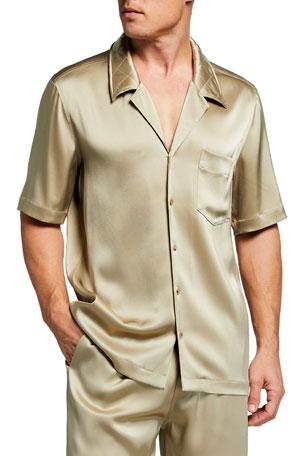Nanushka Men's Solid Satin Beach Shirt