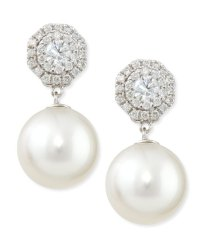 Belpearl Whispering Diamond Stud Earrings with Pearl Drops ...