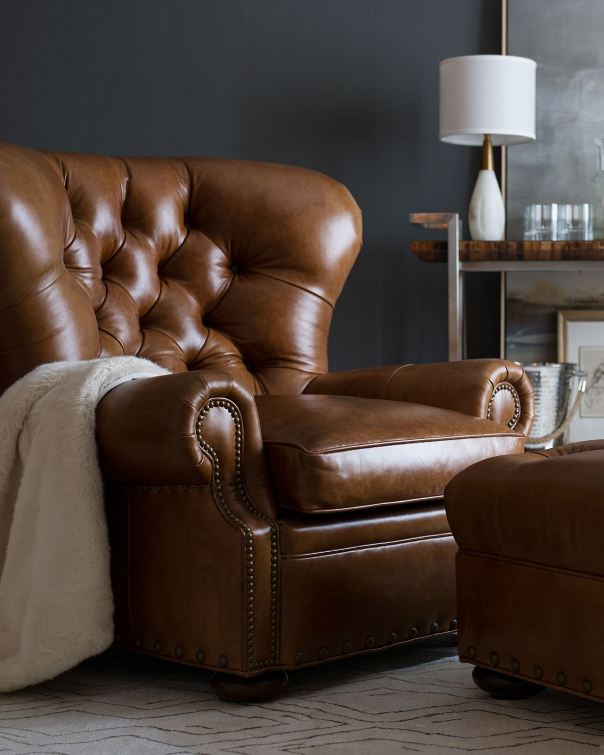 Leather Chairs With Ottoman Lansbury Tufted Leather Ottoman