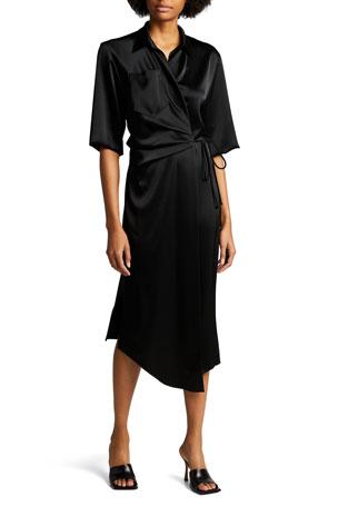 Nanushka Lais Half-Sleeve Satin Midi Wrap Dress