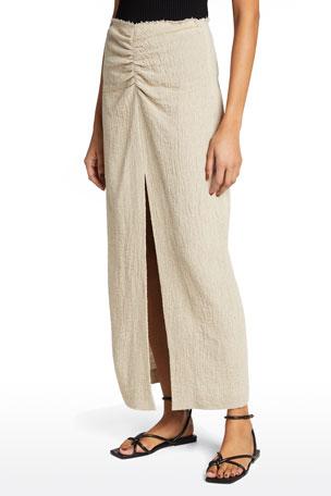 Nanushka Raja Ruched Linen Skirt