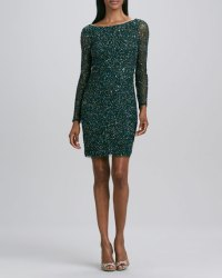Aidan Mattox Sequined Long-Sleeve Cocktail Dress
