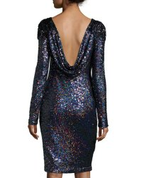 Badgley Mischka Long-Sleeve Sequined Cocktail Dress