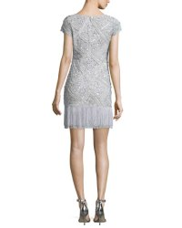 Aidan Mattox Cap-Sleeve Sequined Cocktail Dress W/ Fringed-Hem