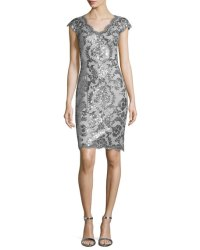 Tadashi Shoji Cap-Sleeve Sequined Lace Cocktail Dress ...