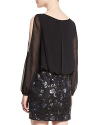 Aidan by Aidan Mattox Long-Sleeve Blouson Sequined-Skirt ...