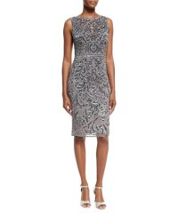 Theia Sleeveless Bateau Embellished Cocktail Dress, Pewter