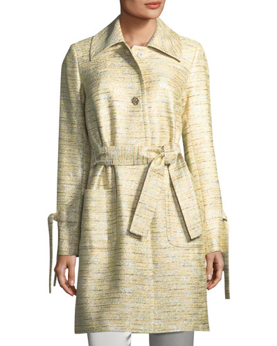 St. John Collection Metallic Tweed Belted Coat