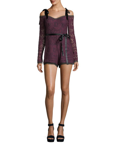 Alexis Kathryn Long-Sleeve Lace Romper