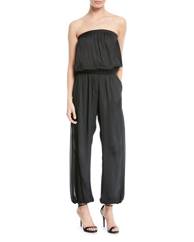Halston Heritage Strapless Ruched Jumpsuit
