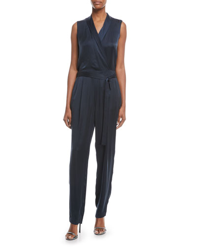 Lafayette 148 New York Jett Satin Sleeveless Jumpsuit