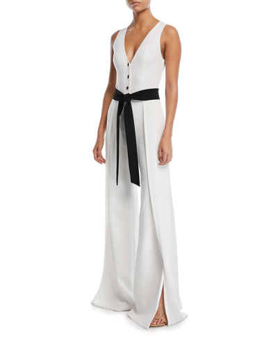 Alexis Moe V-Neck Button-Front Sleeveless Wide-Leg Crepe Jumpsuit