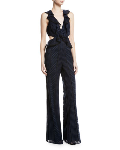 Jay Godfrey Sleeveless Ruffle Cutout Jumpsuit