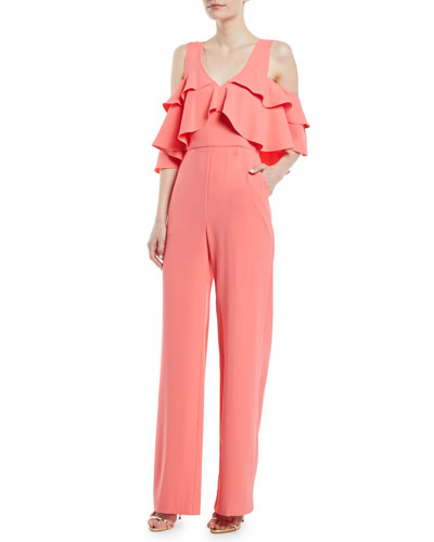 Trina Turk Josephine Cold-Shoulder Ruffle Jumpsuit