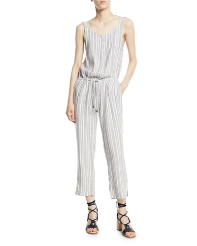Rails Brooklyn Striped Button-Front Drawstring Jumpsuit