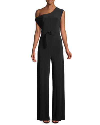 Norma Kamali MJ Drop-Shoulder Belted Jumpsuit