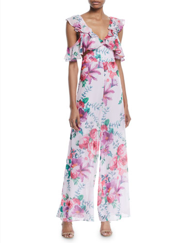 Fame and Partners The Yvette Draped Ruffle Jumpsuit