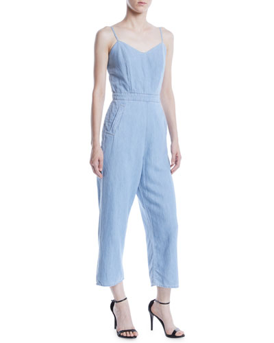 MOTHER Cut It Out Sleeveless Cropped Jumpsuit