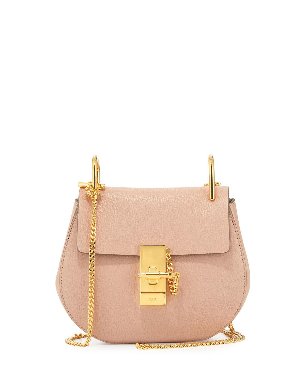 Chloe Drew Mini Lambskin Shoulder Bag. Cement Pink   Neiman Marcus