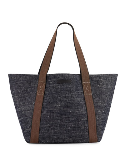 Brunello Cucinelli Denim Tote Bag with Monili Handles