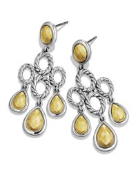 David Yurman Sculpted Cable Chandelier Earrings with Gold ...