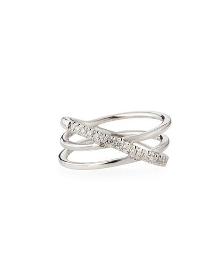 Roberto Coin 18k White Gold Diamond Crisscross Ring
