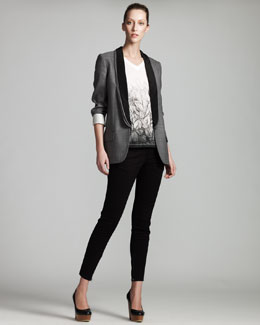 Stella McCartney Triple-Lapel Tuxedo Jacket, Feather-Print Tee & Zip-Cuff Denim Leggings