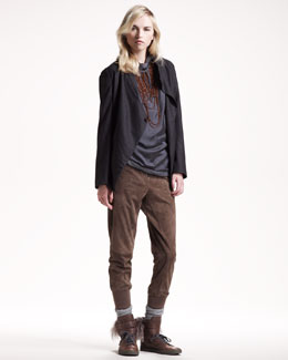 Brunello Cucinelli Lightweight Flannel Jacket, Silk Hooded Top & Suede Jodhpur Pants