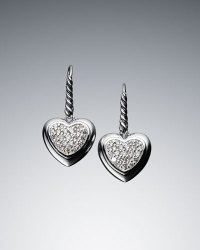 David Yurman Pave Diamond Cable Heart Drop Earrings