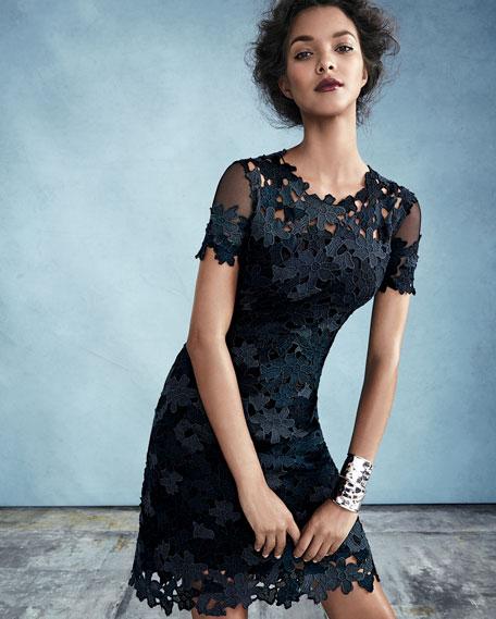 Elie Tahari Ophelia Short Sleeve Lace Sheath Dress