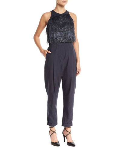 Brunello Cucinelli Feather Tiered Top Crinkled Cotton Jumpsuit