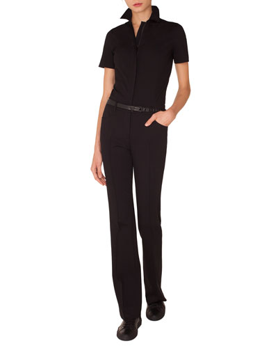 Akris punto Short-Sleeve Straight-Leg Stretch-Cady Jumpsuit w/ Leather Belt