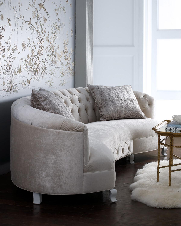 monroe sofa brown leather orange cushions haute house neiman marcus