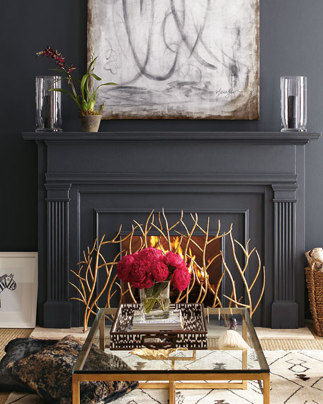 Fireplace Screens Pink Flowers Glass Coffee Table Black Mantel Home Decor Golden Branches Neiman Marcus Department Store Staged House