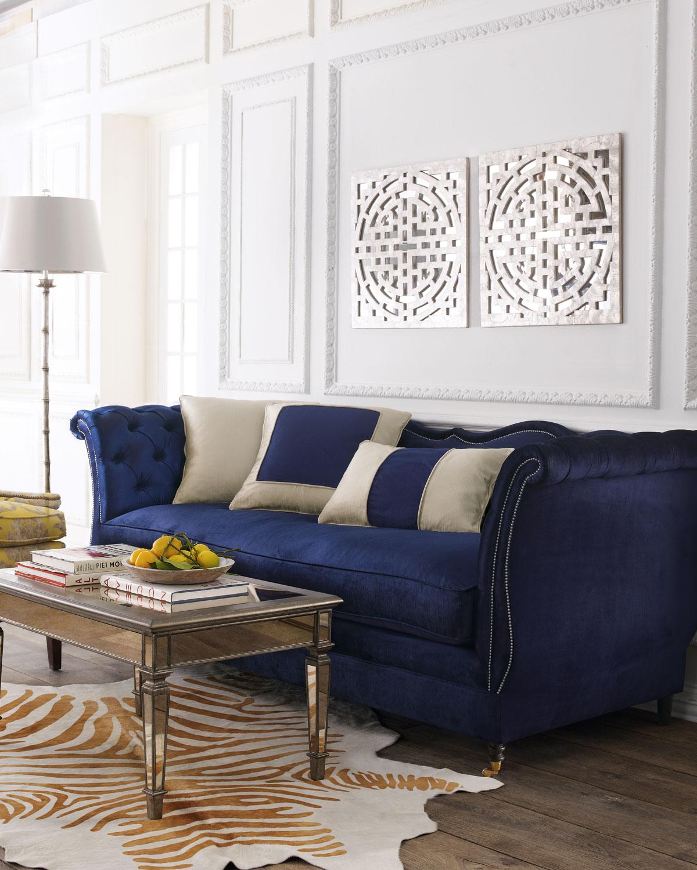 Haute House Horton Navy Velvet Tufted Sofa 90 Neiman Marcus